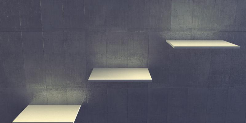 3d modern indoor, empty shelf